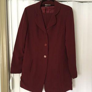Women's 3 piece burgundy suit
